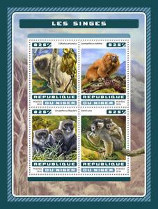 Niger 2016 MNH Monkeys Atlantic Titi Lion Tamarin 4v M/S Wild Animals Stamps