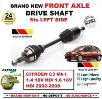 Pour Citroen C3 Mk I 1.4 16V 1.6 16V HDI 2002-2008 Neuf Avant Axe Gauche Arbre