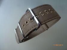 Canvas Strap Leinen Uhrband 22 mm braun cognac Edelstahl Dornschließe Nato Zulu