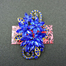 Ornate Flower Charm Brooch Pin Gift Fashion Betsey Johnson Woman Blue Crystal