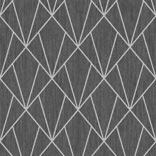 INDRA GEOMETRIC WALLPAPER SILVER / CHARCOAL - MURIVA 154104 GLITTER