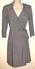 Laundry 3/4 Sleeve Black & White Geometric Print Silky Wrap Dress Size XS