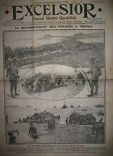 GUERRE ITALIE TURQUIE OCCUPATION DE TRIPOLI TROUPES ITALIENNES EXCELSIOR 1911