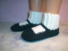 Black Hand Crochet Slipper Socks Shoes For The My Size Barbie Doll