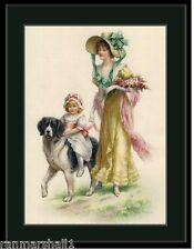 English Picture Print Poster St. Saint Bernard Dog Beautiful Vintage Girl Art