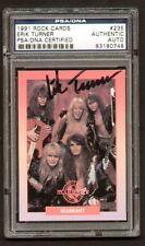 Erik Turner signed auto 1991 Rock Cards PSA Slabbed