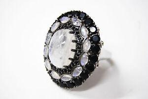 Natural Gemstone Rainbow Moon Stone Onyx White Zircon Solid 925 Silver Ring