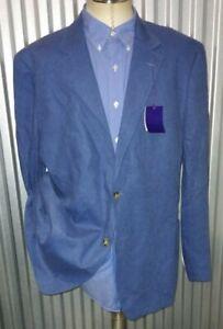 NEW Blue Slub 100% LINEN Coat Blazer Jacket patch pocket Men XL 46R Flusser
