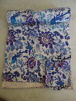 Indian Cotton Kantha Quilt Vintage Bedspread Blanket Throw Ethnic Bedding 1014