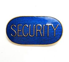 Security Blue Gold Coloured Border Lapel Brooch Pin Badge