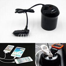 Dual Car Cigarette Lighter +2 USB Port Socket Splitter Charger Power Adapter UK