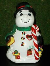 "Vintage Ceramic Christmas Snowman 8.5"" Trees & Candy Cane Uses Tea Light"