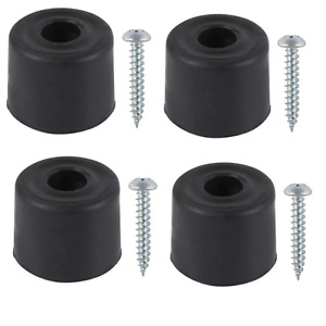4x Rubber Door Stop Wedge Black Hold Open Buffer Stopper Jammer Including Screws