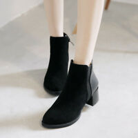 Korean Women Ankle Boots Winter Warm Faux Suede Mid Heel Cuban Shoes