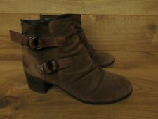 Paul Green Brown Suede Newbury Double Strap Ruched Ankle Boots 5.5 8 U.S.