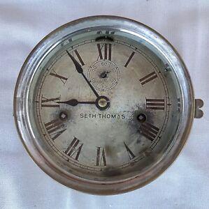Antique Brass 19th Century Seth Thomas Marine Ship's Porthole Clock WORKING
