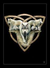 Anne Stokes - Kleine Leinwand mit Wölfen - Wolf Trio - Kunstdruck Bild Fantasy
