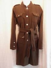 Womens Military Coat Small Chocolate Brown Wool w/Belt Brass Buttons Galeno