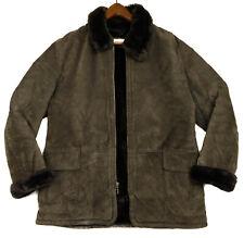 Jones New York Sport Mens Brown Suede Leather Coat Faux Fur Lined Jacket Size L