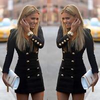 Women Slim Buttons Long Sleeve Bodycon Cocktail Mini Dress Casual Evening Dress
