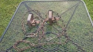LOT OF 2 #1 1/ 2 NORTHWOODS COIL SPRING VINTAGE TRAPS with chains