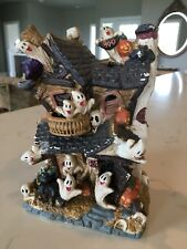 Vintage Halloween - Ceramic HAUNTED HOUSE With Ghosts, cat, skulls