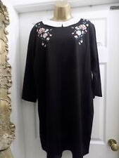 "Ladies ""TU WOMENS"" Tunic Dress With Peter Pan Collar & Embroidered Detail S, 22"