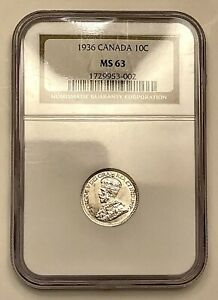 1936 Canada 10 Cent Silver NGC MS63 With Nice Luster