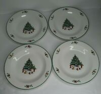 "The Salem China Whimsical Christmas Set of (4) Salad/Dessert Plates 8.25"" Tree"