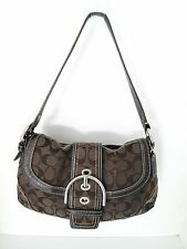 Coach Brown Signature Canvas Shoulder Bag With Leather Medium 8 in, 13 in, 9 in