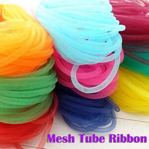 10m Mesh Tube Ribbon Tubing Hair Design Christmas Holiday Wreath Crafts Colorful