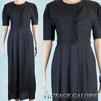 VTG Grunge 80s 90s Black Classy embroidered Tie Back Long straight dresses  Sz L