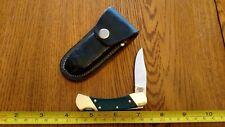 Vintage COLONIAL U.S.A. Lockback Pocket Knife Saw Cut Delrin w/leather Sheath #1