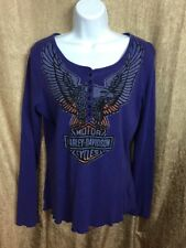 2008 Harley Davidson Large Purple Long sleeve Button Up Pull Over