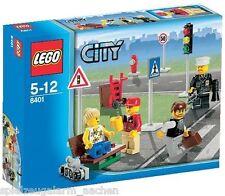 LEGO 8401 CITY Minifiguren mit Straßenschildern Collection Frau 2 Männer Polizis