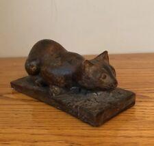 Attila's Sculpture Cat Figurine Sleeping Cat Mid century Wood Carving