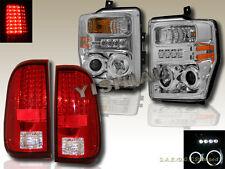 08-10 FORD F250 F350 F450 CHROME CCFL Halo Projector Headlights &Tail Lights RED