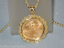 NEW 14KT SOLID GOLD ROPE BEZEL FOR 1/10 OZ AMERICAN GOLD EAGLE & FITS 16MM COINS