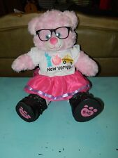 "Bab Build a Bear Pink Soft 18"" Bear Glasses New York City"