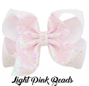 Jojo Siwa 5 Inch Unicorn Hearts Hair Bow Clip Hairpin - LIGHT PINK BEADS