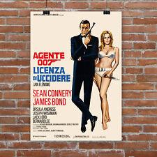 Dr. No James Bond 007 Movie Poster Canvas Art Print Sean Connery Italian Rare