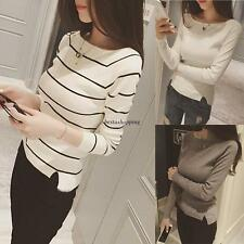 Korean Fashion Womens Solid Striped Long Sleeve Knit Tops Casual Blouse T-shirt