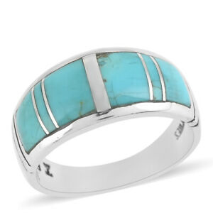 Santa Fe Style 925 Sterling Silver Turquoise Ring Fine Jewelry Size 13 Ct 1.3