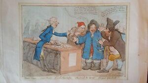 1797 / 1820 ANTIQUE SATIRICAL PRINT JAMES GILLRAY - BANK NOTES FRENCH ALARMISTS