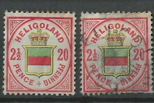 HELGOLAND 1876 2½/20P/Pf Coat of Arms Mint and Used
