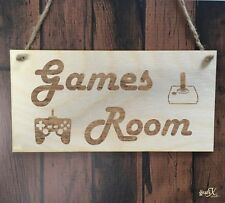 Games Room Wooden Plaque Sign Laser Engraved pq5