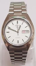 (Gift) + SNXF05K1 SEIKO 5 Stainless Steel Band Automatic Men's White Watch New