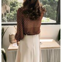 Women's Chiffon Bow Tie Shirt Blouse Polka Dots Ruffle Top V Neck Long Sleeve