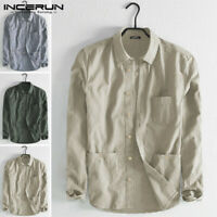Men's Linen Long Sleeve V-neck Shirt Loose Casual Shirts Tops Smart Tee Blouse