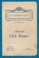 1924 ST. GEORGE'S CLUB ANNUAL SUPPER PROGRAMME - GENTLEMAN'S CLUB, LONDON